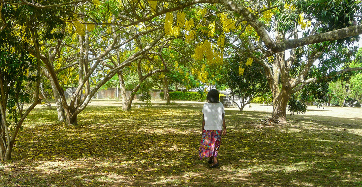 A retreatant taking a walk in the gardens